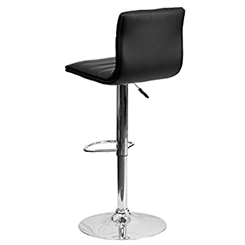 Flash Furniture Contemporary Black Vinyl Adjustable Height Barstool with Chrome Base