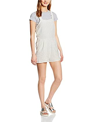 New Look Mono Ticking Stripe Pinny Playsuit (Blanco)