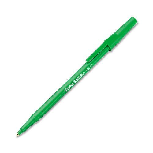 Write Bros. Stick Ballpoint Pens, Medium Point, Green Ink, 12-Pack