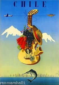 LanLan Chile by Airplane South America Vintage Travel Advertisement Art Poster