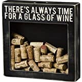 "Primitives By Kathy ""Always Time for a Glass of Wine"" Cork Holder Shadow Box"