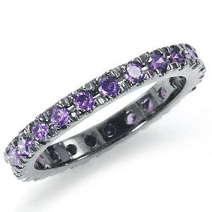 Amethyst Purple CZ Sterling Silver Eternity Band Stack/Stackable Ring Size 8