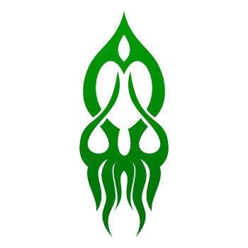 Tribal Squid style... Green-Dark (11 X 4.3 inch) W756W