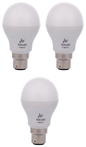 RB 7W B22 LED Bulb (Pack of 3, Cool Day Light)