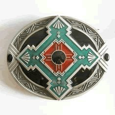 Native American Indian Art Belt Buckle (WT-059)