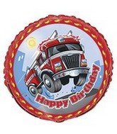 Fast Fire Engine Party Birthday Foil Balloon 18""