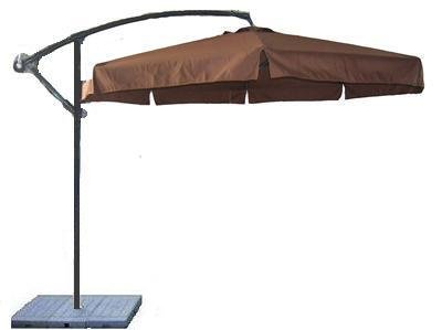 10 Foot Brown Cantilever Offset Umbrella with Updated Sand Base Patio Deck