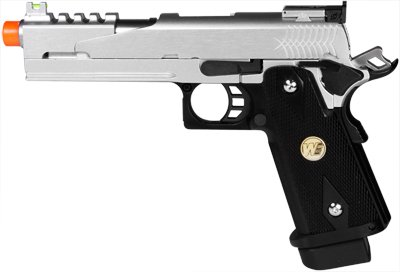 WE Hi-Capa 5.1 Dragon Type B Silver Metal Pistol 