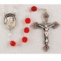 7mm Bead Red Beads with Austrian Stones Sacred Heart of Jesus Rosary, Boxed.