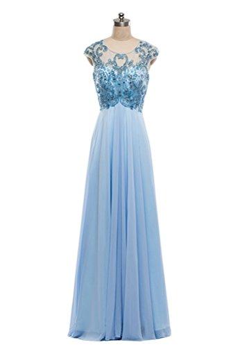 TSRJ Women's Scoop Crystal Beaded Sequins Chiffon Floor Length Evening Dress Photo Color US12