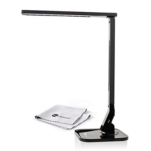 TaoTronics® Elune Dimmable LED Desk Lamp (14W, Piano Black, 4 Lighting Modes, 5-Level Dimmer, Touch-Sensitive Control Panel, 1-Hour Auto Timer, 5V/1A USB Charging Port)