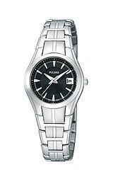 Pulsar Black Dial Silver Tone Stainless Bracelet Dress Ladies Watch