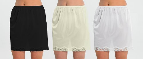 Set Of 3 Womens/Ladies Underskirt Slip With Lace Trim 100% Polyester Cling Resistant, 18Inch Length (45cms), 16/18