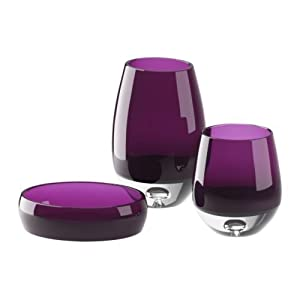 Glass bathroom set purple kitchen home Salle de bain accessoire ikea
