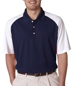 Ultraclub Adult Cool & Dry Two-Tone Stain-Release Performance Polo, Navy/White, 3Xl