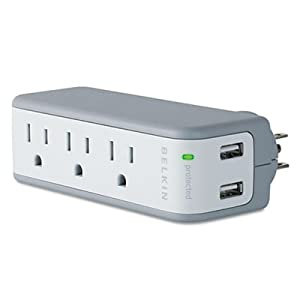 Wall Mount Surge Protector with USB Charger, 3 Outlets, 918 Joules, Gray/White by Belkin Components