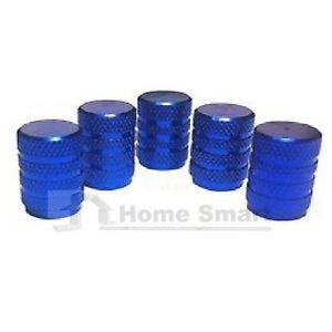 5 x alluminio valvola polvere Cappelli con visiera blu / auto moto Van Bmx Dustcaps metallo