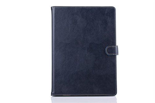 Apple Ipad Air 2 Case Borch Fashion Luxury Genuine Leather Multi-Function Protective Leather Light-Weight Folding Flip Smart Case Cover For For Ipad Air 2 (Dark Blue)