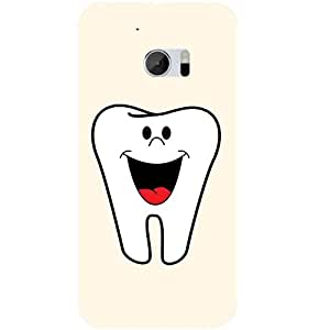 Casotec Smiling Tooth Design 3D Hard Back Case Cover for HTC One M10