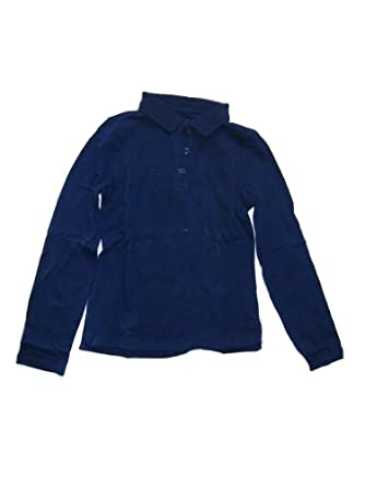 Girls Long Sleeve Solid Knit Polo Shirt (8, Navy)