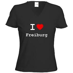 Lady V-Shirt - I love Freiburg - I love Shirt - in versch. Varianten