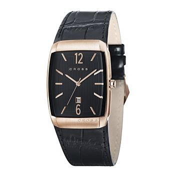 Men's Designer Watch With Rectangular Pinstripped Black Dial