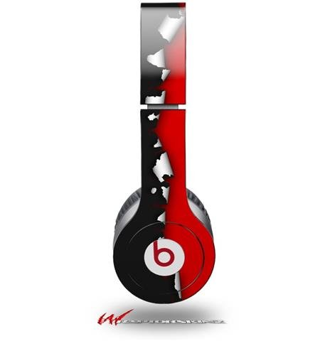 Ripped Colors Black Red Decal Style Skin (Fits Genuine Beats Solo Hd Headphones - Headphones Not Included