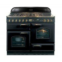 Falcon-Classic-110-Mixte-Noir-Laiton-Falcon-Classic-110-Mixte-Noir-Laiton-CLAS110DFBLB-Cuisinire-four--deux-tages-pose-libre-110-cm-classe-A-noir-mat-finition-laiton