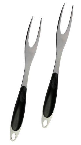 Set Of 2 - Heavy Duty Stainless Steel Two Tine Meat Fork, Bbq Skewer, Turkey Lifter, Pot Fork