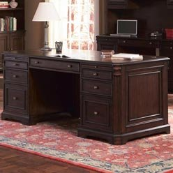 Buy Low Price Comfortable Cherry Valley Traditional Double Pedestal Computer Desk by Coaster (B0051PE16S)