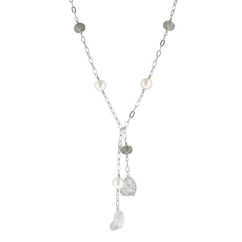 Sterling Silver White Freshwater Cultured Pearl Heart-Drop