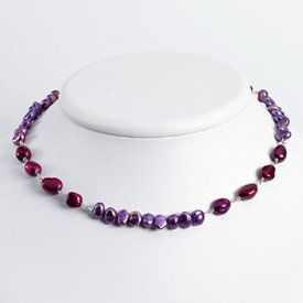 Silver Mixed Shades of Purple Cult. Pearl Necklace - 16 Inch - Lobster Claw - JewelryWeb