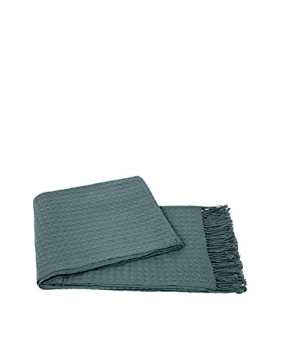a & R Cashmere Waffleweave Throw, Lake
