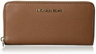 Michael Kors Women's Bedford Leather Zip Around Leather Wallet Baguette - Luggage
