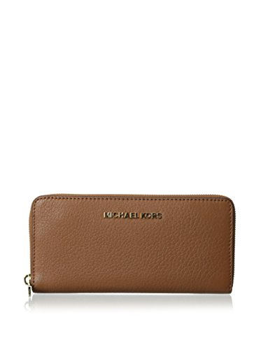 Michael Kors Bedford Zip Around Continental Leather Luggage Brown Wallet