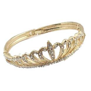 Golden Imperial Princess Crown Shape Gold Plated Bracelet Crystal Insert