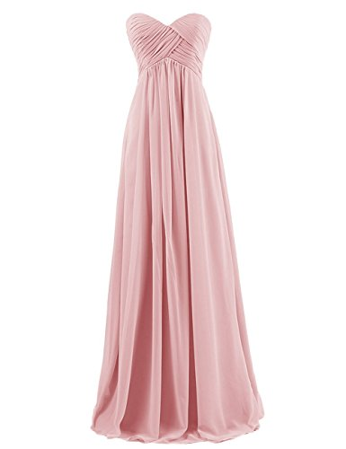 Ouman Sweetheart Bridesmaid Chiffon Prom Dress Long Evening Gown Blush L