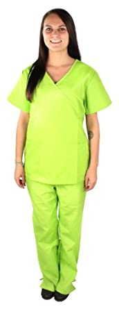 Natural Uniforms - Women's Mock Wrap/Flare Pant Medical Scrubs Set, Lime Green 31418-X-Small