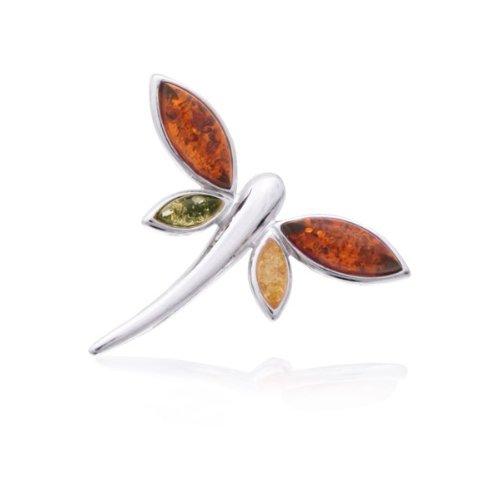 Timeless Amber, Honey, Citrine & Green Modern Butterfly Pin, .925 Sterling Silver