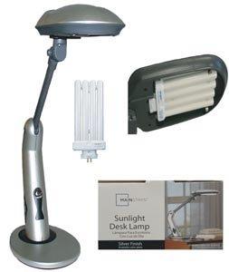 Sunlight Desk Lamp Natural Full Spectrum Sun Light. Simulates Daylight. 150Watt Output uses 27 Watts. Touch On/Off Switch.