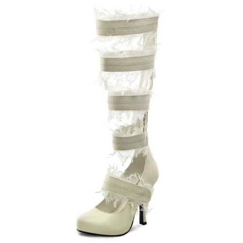 Ivory Pump Mummy Costume Shoes with Frayed Knee High Straps and 4.5 Inch Heels