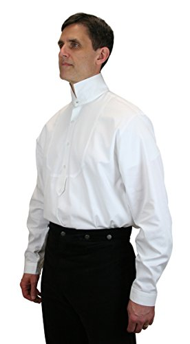 [Historical Emporium Men's Excelsior Victorian High Collar Dress Shirt M White] (Sweeney Todd Halloween)