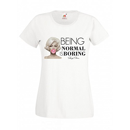 "T-shirt Donna ""Being Normal is Boring"" - maglietta cit. Marylin Monroe 100% cotone LaMAGLIERIA,M, Bianco"