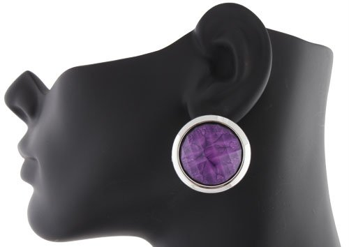 Ladies Silver Disc with Purple Marble Style Clip on Earrings