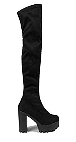 Womens Ladies Chunky Block Platform High Heels Boots Shoes Suede Over The Knee [Black, UK 6]