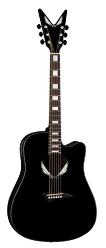 Dean Tradition Acoustic-Electric Cutaway Guitar With V Headstock, Tuner Preamp, Classic Black