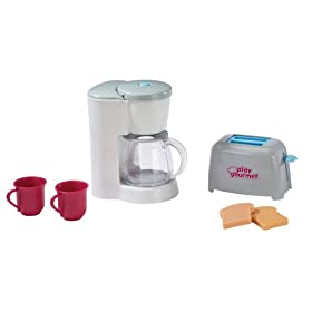 Toy coffee maker toaster set