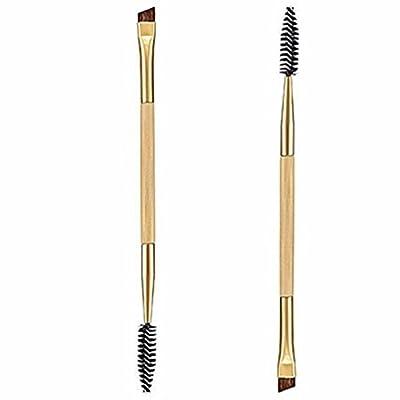 Susenstone 1PCS Makeup Bamboo Handle Double Eyebrow Brush + Eyebrow Comb