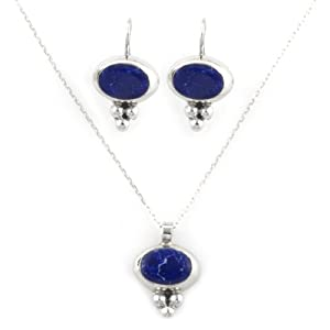 """Sterling Silver Oval Sodalite Inlay Drop Earrings and Matching Pendant Necklace, 16"""""""