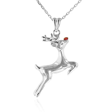 Rudolph Reindeer Ruby & Sterling Silver Pendant/Necklace with 18″ Chain $26.95